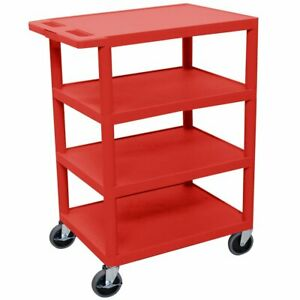 Luxor Bc45 rd 36 inch Red Durable Four Flat Shelf Rolling Stroage Utility Cart