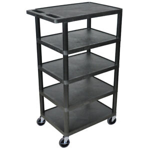 Luxor Bc50 b 46 inch Black Durable Five Flat Shelf Rolling Storage Utility Cart