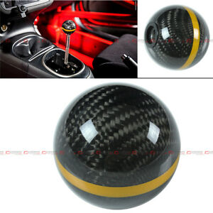 M8 X 1 25 Carbon Fiber Jdm Auto Transmission Shift Knob W Gold Strip For Scion