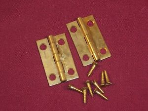 2 Vintage Jewelry Box Small Solid Brass Hinges And Screws 1 1 2 X 15 16