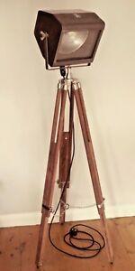 Vintage Theatre Light Industrial Floor Lamp Antique Tripod Strand Electric Patt