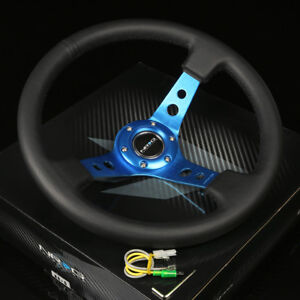 Nrg 350mm 3 deep Dish 6 holes Bolts Steering Wheel Black Leather Blue 3 Spokes
