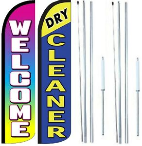 Dry Cleaner Welcome Windless Flag With Hybrid Pole Set Pack Of 2