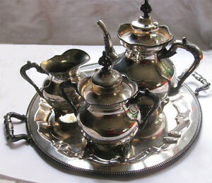 Derby Silver Co Antique Silverplate Tea Set