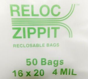 Jumbo Ziplock Bags 16x20 Clear 4mil 50pcs Reclosable Zip Lock Large Bag 16 x20