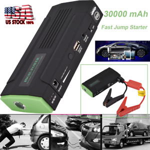 Emergency 30000mah Car Jump Starter Booster Battery Charger Power Bank Pack Led