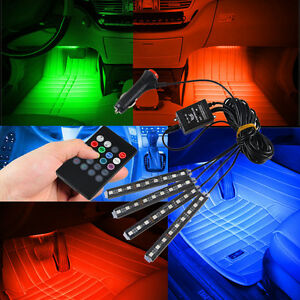 Wireless Music Remote Control For Car Interior 7 Color Rgb Led Neon Strip Lights