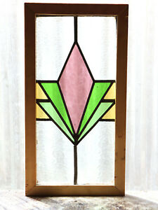 Antique Stained Glass Window Four Colors Fantastic Art Deco Diamond 3065