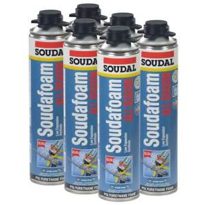 Soudal All Season Window Door Pro Gun Foam 24oz Lot Of 6 Cans
