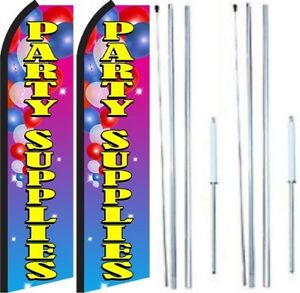 Party Supplies Swooper Flag With Complete Hybrid Pole Set Pack Of 2