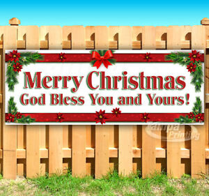 Merry Christmas God Bless You And Yours Advertising Vinyl Banner Flag Sign