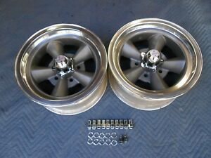 Vintage Pair Of 5 Spoke Torque Thrust Style Polished Lip14x7 4 3 4 Chevy Hot Rod