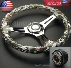 350mm Green Skull W Rose 3 Chrome Spoke Steering Wheel W Hub For Civic Integra