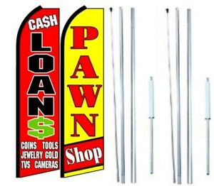 Cash Loans Pawn Shop Swooper Flag With Complete Hybrid Pole Set Pack Of 2