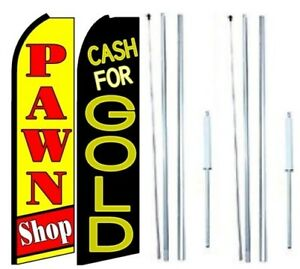 Pawn Shop Cash For Gold Swooper Flag With Hybrid Pole Set Pack Of 2