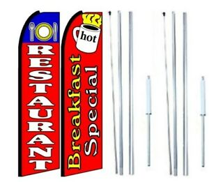 Restaurant Breakfast Special Swooper Flag With Complete Hybrid Pole Pack Of 2