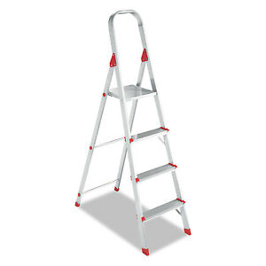 Louisville 566 Folding Aluminum Euro Platform Ladder 4 step Red L234604