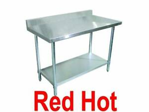 Omcan 22078 Stainless Steel 24 x 24 Kitchen Work Prep Table With Back Splash