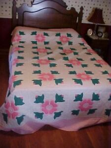 Vintage Appliqued Quilt Flowers Pink Green And White
