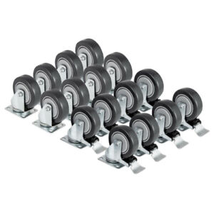 16 Swivel Plate Casters Set With 4 Polyurethane Wheels All Rear Brakes Non Mark