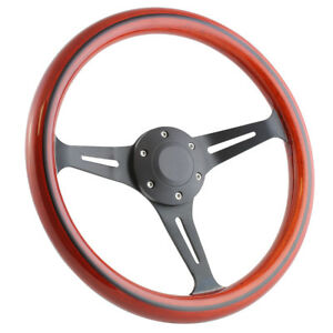 Street Rod Hot Rod Mahogany And Black Split Spoke Steering Wheel 14