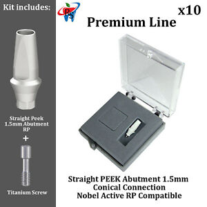 10 Rs Dental Implant Conical Nobel Active Rp Peek Anatomic Abutment 1 5mm