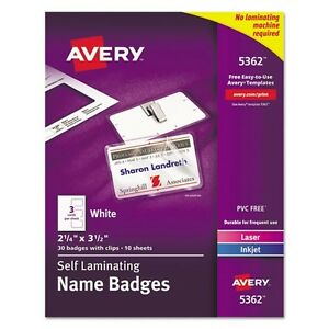 Avery Self Laminating Name Badges With Clips 5362