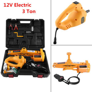 Portable 3 Ton 12v Automotive Electric Scissor Car Jack Floor Lift Impact Wrench