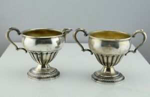 Antique Sterling Silver Gadrooned Sugar Bowl Creamer Set 13a