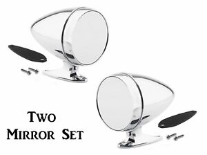 Universal Chrome Bullet Style Hotrod Side Mirror Set Both Driver Passenger