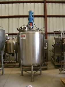 Used Lee 200 Gallon Sanitary Stainless Steel Reactor Tank W Mixer 15 fv At 250f