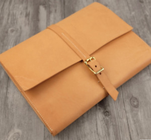 File Folder Pocket Cow Leather Messenger Bag Briefcase Pouch Handmade Yellow 630