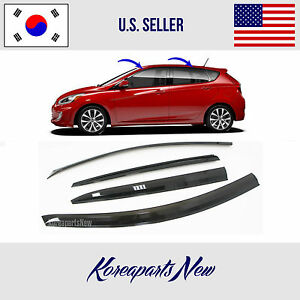 Smoked Door Window Visor Deflector Fits For Hyundai Accent Hatchback 2012 2017
