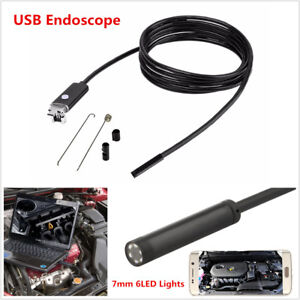 New 7mm Usb Endoscope 5m Tube 6led Inspection Hd Camera Borescope For Android Pc