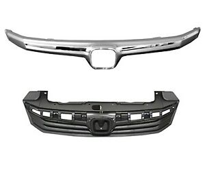 Grille Black W chrome Molding Fits 2012 Honda Civic Sedan Ho1200206 Ho1210139