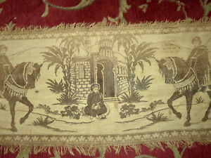 Vintage Antique Original Wall Table Runner Tapestry Arabic 2 Kings 60x18