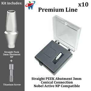 10 Rs Dental Implant Conical Nobel Active Np Peek Anatomic Abutment 3mm