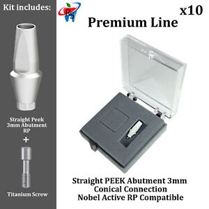 10 Rs Dental Implant Conical Nobel Active Rp Peek Anatomic Abutment 3mm