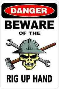 3 Danger Beware Of The Rig Up Hand Oilfield Hard Hat Helmet Sticker H365