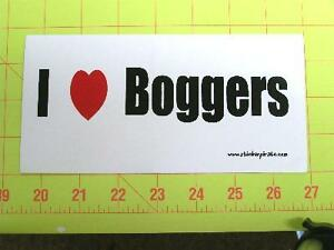 I Love Boggers Funny Bumper Sticker Decal