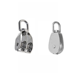 Double Single Pulley Swivel Sheave Rope Pulley Lifting Sheave M75 Silver