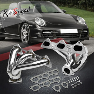 Pair Twin turbo Exhaust Header Manifold For 01 08 Porsche 911 Gt2 turbo 3 6 H6
