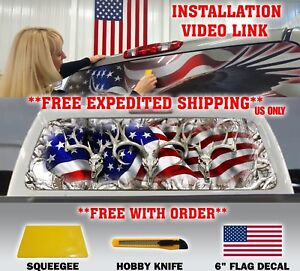Us Flag Buck Skull Pick up Truck Rear Window Graphic Decal Perforated Vinyl Tint