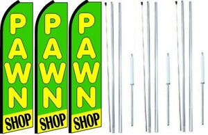 Pawn Shop Swooper Flag With Complete Hybrid Pole Set 3 Pack