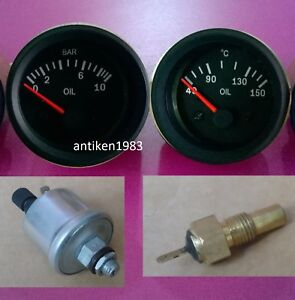 El Gauge 52mm Oil Temp Gauge Oil Pressure Gauge 10 Bar With Sender