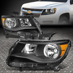 For 15 20 Chevy Colorado Black Housing Amber Corner Headlight Replacement Lamps