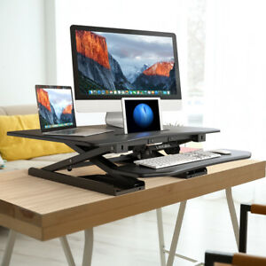 Pneumatic Height Adjustable Steel Sit Standing Desk Converter Ergonomic Tabletop