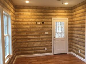 Log Cabin Wallpaper Prepasted Double Roll 27 x 324 Light To Medium Brown York