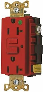 Hubbell Wiring Gfr8300hrl Hospital Grade Commercial Gfci 20a Red