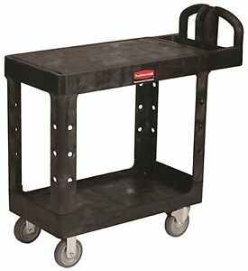 Rubbermaid Commercial Products 4505 Flatshelf Utility Cart Black